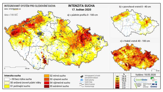 Aktuální stav sucha v ČR k 17.5.2020.