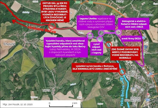 schematická mapa území vzniku havárie, zdroj: mapy.cz (upraveno)