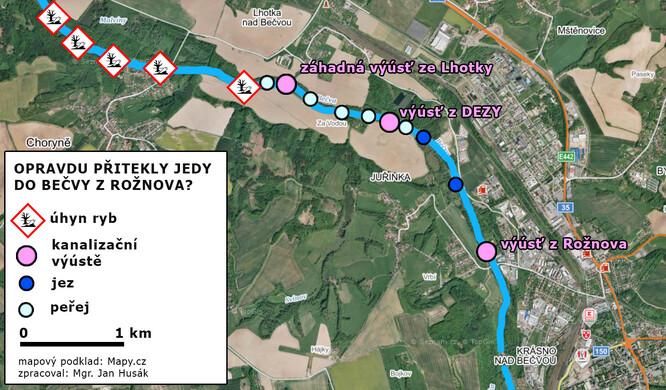 Schematická mapa úseku Bečvy, kde byla zaznamenána otrava.