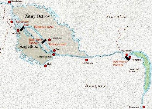 Plánek Soustavy vodních děl Gabčíkovo-Nagymaros