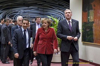 Nicolas Sarkozy, Andrea Merkelová a Mirek Topolánek
