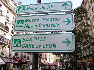 Ukazatel pro cyklisty v Paříži