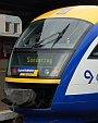 Motorová jednotka Desiro firmy Veolia Transport čeká v Berouně na odjezd do Prahy.