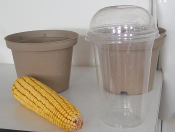 Kelímek z kukuřičného plastu.