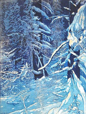 Josef Váchal: Z pralesa pod Luzným, dřevoryt z knihy Šumava umírající a romantická, 1931